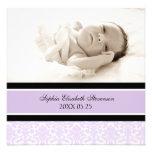 Lila Foto-Schablonen-neue Baby-Geburts-Mitteilung
