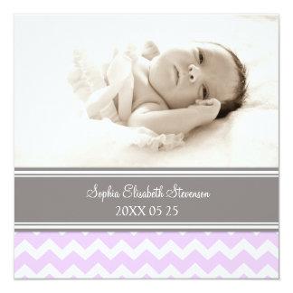 Lila Foto-Schablonen-neue Baby-Geburts-Mitteilung Quadratische 13,3 Cm Einladungskarte
