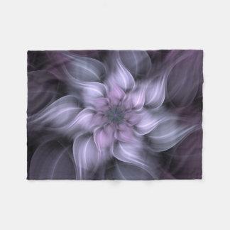 Lila Fraktal-Blume Fleecedecke