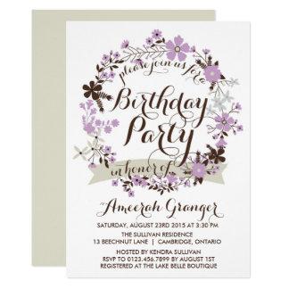 Lila Frühlings-BlumenKranz-Geburtstags-Einladung 12,7 X 17,8 Cm Einladungskarte