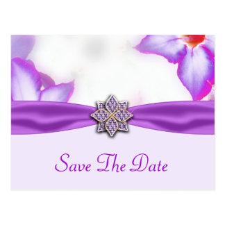 Lila Frühlings-Blumenwatercolor-Hochzeit Postkarte