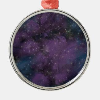 Lila Galaxie-Nebelfleck Silbernes Ornament