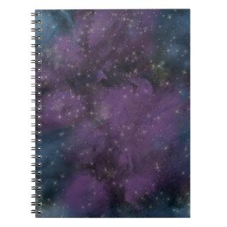 Lila Galaxie-Nebelfleck Spiral Notizblock