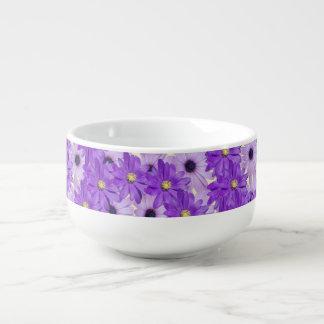 Lila Gänseblümchen-Wirbel Große Suppentasse