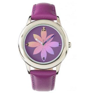 Lila Gänseblümchenentwurfsuhr Armbanduhr