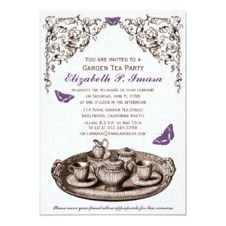 Lila Garten-Tee-Party Einladungen