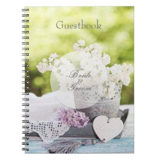 Lila Gastmit blumenbuch der romantischen Spiral Notizblock