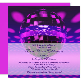 Lila Geburtstag des Disco-Ball-Bonbon-16 Karte
