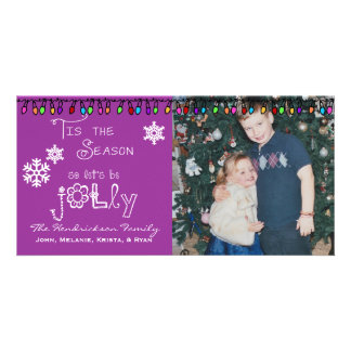Lila gelassen uns sind lustige Weihnachtsfeiertags Fotokarten