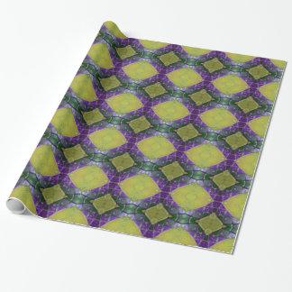 Lila gelbes Fliesen-Muster Einpackpapier
