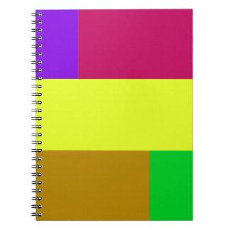 Lila, gelbes, hochrotes Colorblock Spiral Notizblock