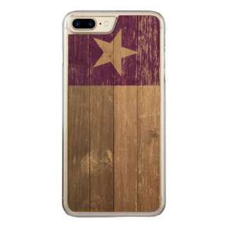 Lila gemaltes altes Holz Texas Flagge Carved iPhone 8 Plus/7 Plus Hülle