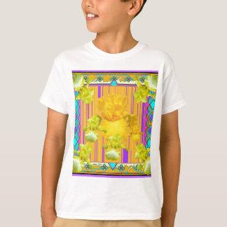 Lila gemusterte Goldiris-Garten-Geschenke T-Shirt