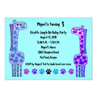 Lila Giraffen-Kindergeburtstag-Einladung Karte