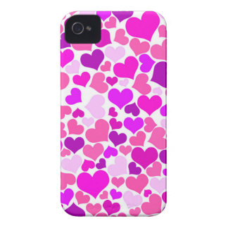 Lila Girly rosa Confetti-Herz-Monogramm niedlich iPhone 4 Case-Mate Hülle