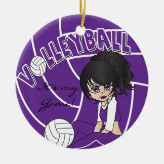 Lila Girly Volleyball Keramik Ornament