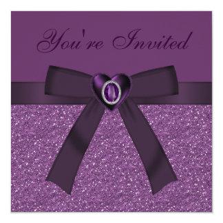 Lila Glitter, Bogen u. Amethyst Herz lädt ein Quadratische 13,3 Cm Einladungskarte