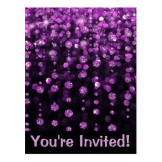 Lila Glitter-Diamanten Postkarte