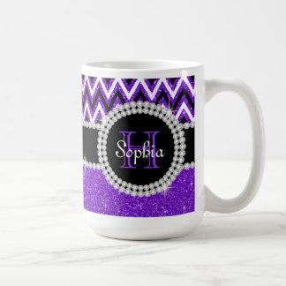 Lila Glitter-lila Zickzack Monogramm-Kaffee-Tasse Kaffeetasse