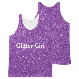 Lila Glitter-Mädchen-Show Ihr Schein Komplett Bedrucktes Tanktop