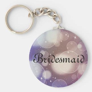 Lila Glitter-personalisierte Brautjungfer Schlüsselanhänger