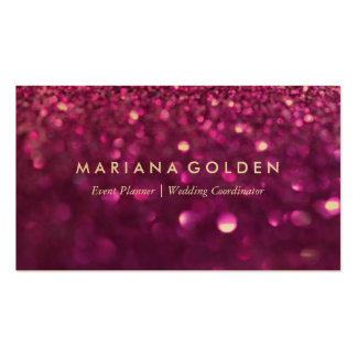 Lila Glitter-Schein-Geschäfts-Karte auf Goldpapier Visitenkartenvorlage