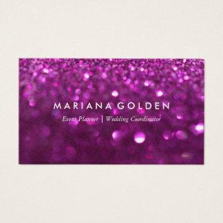 Lila Glitter-Schein-Geschäfts-Karte auf Goldpapier Visitenkarte