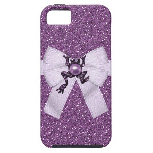 Lila Glitter-u. Frosch-Juwel iPhone 5 Kasten iPhone 5 Etui