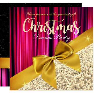 Lila Glittery Weihnachtsabendessen-Einladung Karte