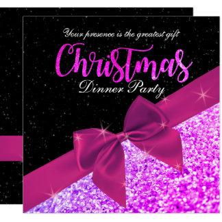 Lila Glittery Weihnachtsabendessen-Quadrat laden Karte