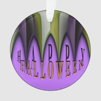 Lila glückliche gestreifte Reißzähne Halloweens Ornament