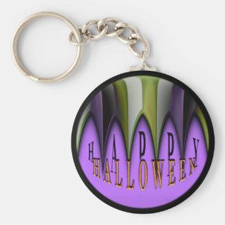 Lila glückliche gestreifte Reißzähne Halloweens Schlüsselanhänger