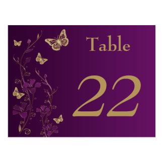 Lila Goldblumenschmetterlings-Tischnummer-Karte Postkarten