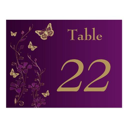 Lila, Goldblumenschmetterlings-Tischnummer-Karte Postkarten
