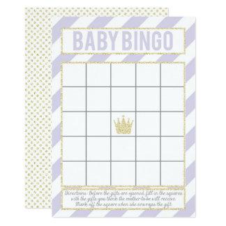 Lila GoldGlitzer-Prinzessin Baby Bingo Karte