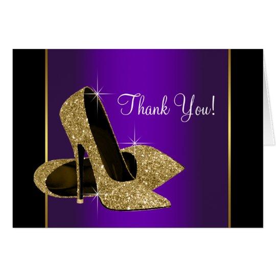 Lila Goldhohe Fersen-Schuhe danken Ihnen zu Mitteilungskarte