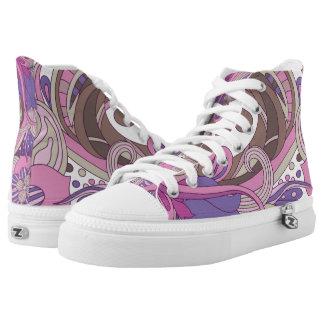 Lila grafischer Wirbel Hoch-geschnittene Sneaker