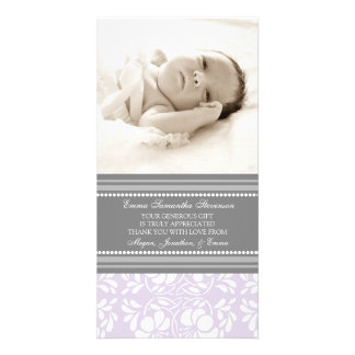 Lila Grau danken Ihnen Baby-Duschen-Foto-Karten Fotokarte