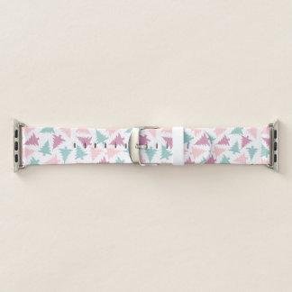 Lila Grün des Weihnachtsbaum-Muster-Pastellrosas Apple Watch Armband