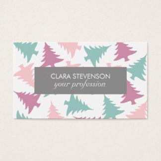 Lila Grün des Weihnachtsbaum-Muster-Pastellrosas Visitenkarte