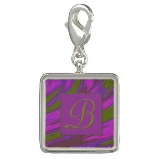 Lila grüne Farbswish-Monogramm Charm