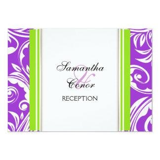 Lila grüne weiße Hochzeits-Verlobung 12,7 X 17,8 Cm Einladungskarte