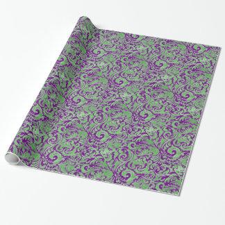 Lila grüner Blumenbatik Geschenkpapier