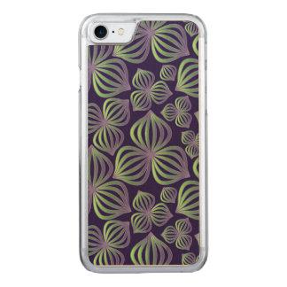 Lila grünes Blumenmuster der abstrakten Steigung Carved iPhone 8/7 Hülle