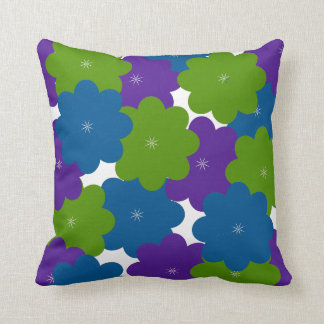 Lila, grünes u. blaues Blumendekorthrow-Kissen Kissen