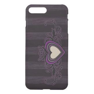 Lila Grungy Streifen-Dunkelheits-Herz iPhone 8 Plus/7 Plus Hülle