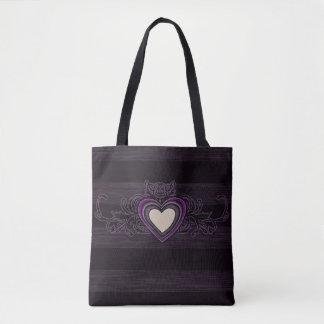 Lila Grungy Streifen-Dunkelheits-Herz Tasche