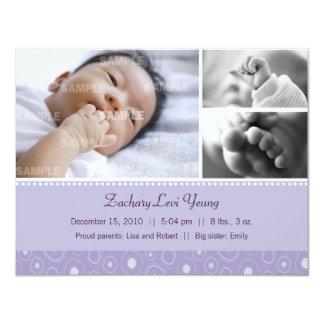 Lila Gumdrop-Geburt 10,8 X 14 Cm Einladungskarte