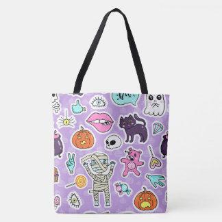 Lila Halloweentrick-oder -Leckerei-Tasche Tasche