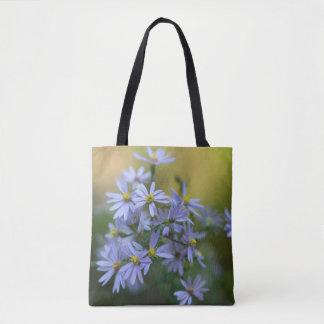 Lila Herbst-Aster-BlumenWildblume-Taschen-Tasche Tasche